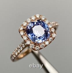 Certified 2.23 Ct Ceylon Blue Cushion Sapphire D VS1 Diamond Ring 14k Rose Gold