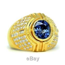 Certified 2.29ct Natural Sapphire Ring 74pcs 0.92ct VS/G DIAMOND 14K Yellow Gold
