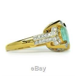 Certified 2.2ct Natural Paraiba Tourmaline Ring 68pc 0.936ct VS DIAMOND 14K Gold