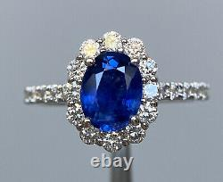 Certified 2.3 Ct NO HEAT Royal Blue Sapphire & D VS1 Diamond Ring 14K W Gold