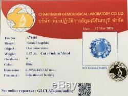 Certified 2.31 Ct Ceylon Blue Cushion Sapphire D VS1 Diamond Ring 14k Rose Gold