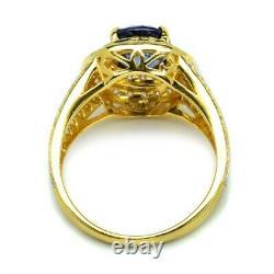 Certified 2.49ct Natural Sapphire Ring 84pcs 0.97ct VS/G DIAMOND 14K Yellow Gold
