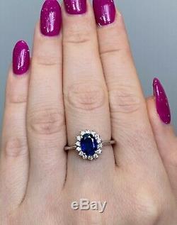 Certified 2.5 Ct Ceylon Blue Sapphire & D VS1 Diamond Halo Diana Ring 14K W Gold