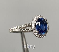Certified 2.5 Ct NO HEAT Vivid Blue Sapphire Diamond Split Shank Ring 14K W Gold