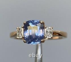 Certified 2.63 Ct Unheated Cornflower Blue Sapphire & Diamond Ring 18K Rose Gold