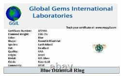 Certified 2.65Ct Blue Diamond Solitaire Ring In Rose Gold, Excellent Cut & Luster