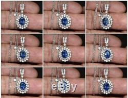 Certified 2.96ct VVS Natural Blue Sapphire & 45pcs VS DIAMOND 18K Gold Necklace