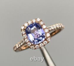 Certified 2 Ct Flawless Blue Sapphire & D VS1 Diamond Ring 14k Rose Gold