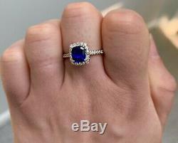 Certified 2 Ct Royal Blue Ceylon Sapphire Cushion D VS1 Diamond Ring 14K W Gold