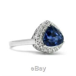 Certified 3.02ct Natural Unheated Sapphire Ring, VS Diamond 14K Solid White Gold