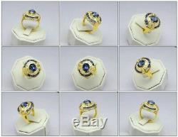 Certified 3.17ct Natural Unheated Sapphire Ring 34p 0.49ct VS/G DIAMOND 18K Gold