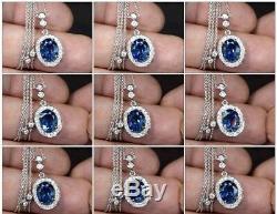 Certified 3.17ct VS Natural Blue Sapphire & 30pcs VS/G DIAMOND 18K Gold Necklace