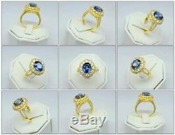 Certified 3.38ct Natural Sapphire Ring 81pcs 0.98ct VS/G DIAMOND 14K Yellow Gold