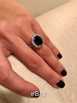 Certified 3.48 Ct Natural Diamond Blue Sapphire Gemstone Ring 14K White Gold