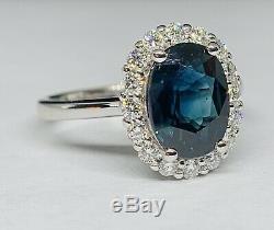 Certified 3.86 Ct Deep Blue IF Sapphire & D-E VS1 Diamond Ring 14K White Gold