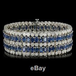Certified 30.00cttw Blue sapphire 2.50cttw Diamond 14KT White Gold Bracelet