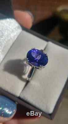 Certified 4.83 Carat AAAA Graded Tanzanite Solitaire set in 14k White Gold