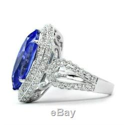 Certified 4.96ct Natural Tanzanite Ring & 114pcs VS Diamond 14K Solid White Gold