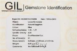Certified $4000 1.29ct Natural NO HEAT Blue Sapphire Diamond Platinum Ring