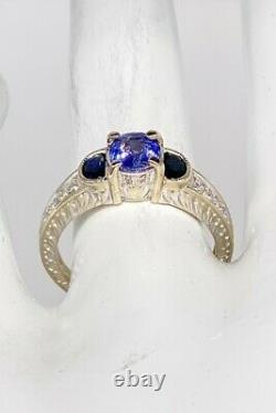 Certified $4000 1.50ct Natural Blue Sapphire MOON Diamond 14k White Gold Ring