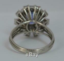 Certified 5.65ct No Heat Ceylon Sapphire 2.5ct Diamond Platinum Cluster Ring