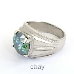 Certified 5Ct Blue Diamond Men's Cocktail Ring- Excellent Cut & Luster