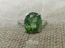 Certified 5ct Natural green Paraiba tourmaline solid 925 sterling silver ring