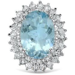 Certified 6.97cttw Aquamarine 1.90cttw Diamond 14KT White Gold Ring