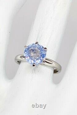 Certified $6000 2.27ct Natural Ceylon BLUE Round Sapphire Platinum Wedding Ring