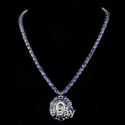 Certified 62.25cttw Blue Sapphire 1.00cttw Diamond 14KT White Gold necklace