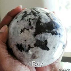 Certified 6330 Carat Moonstone Sphere w Black Tourmaline Natural Blue Flash Gem