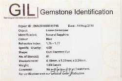 Certified $6K 1.78ct Natural NO HEAT Blue Sapphire Diamond 14k White Gold Ring
