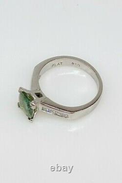 Certified $7000 2ct Natural Green Blue Sapphire Diamond Platinum Wedding Ring 7g