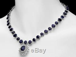 Certified 75.00cttw Blue sapphire 2.50cttw Diamond 14KT White Necklace