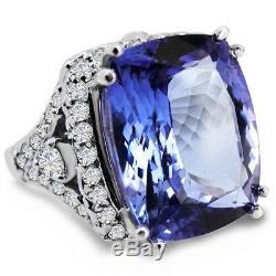 Certified 8.05cttw Tanzanite 1.10cttw Diamond 14KT White Gold Ring