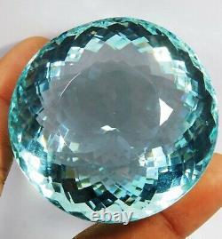Certified 821.5 Ct Natural Round Cut Brazil Blue Aquamarine Loose Gemstone &