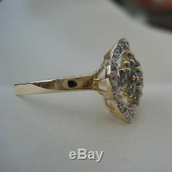Certified Alexandrite & Diamond Gold Cluster Ring