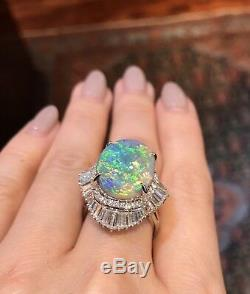 Certified Black Opal and Diamond Ring in Platinum TW 10.54 ct - HM1815VA