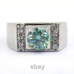 Certified Blue Diamond Men's Ring With White Diamonds, Designer Creation