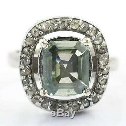 Certified, Blue Diamond Men's Ring in White Finish- Stylish Design. Full of Fire