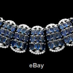 Certified Blue Sapphire 155.00cttw and 10.50cttw Diamond 14KT Ladies Necklace