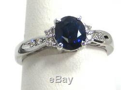 Certified Blue Sapphire Ring 14K White Gold Solitaire GIA Heirloom Free $4,527
