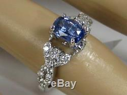 Certified Blue Sapphire Ring 14K white gold Pave Cross Over Heirloom $4,945
