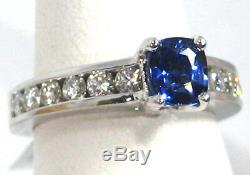Certified Blue Sapphire Ring 18K white gold Channel VS2 Diamond Heirloom $7,897