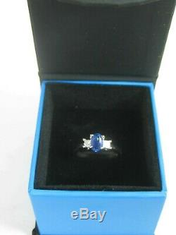 Certified Blue Sapphire Ring 18K white gold GIA Certified 3 stone Heirloom $5,83