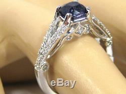 Certified Blue Sapphire Ring 18K white gold GIA Certified Antique Heirloom $5,83