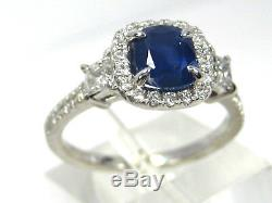 Certified Blue Sapphire Ring Pave Halo 14K White Gold Heirloom 1.83ct 6.25 $5,35