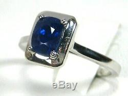 Certified Blue Sapphire Solitaire Ring 18K white gold Heirloom GIA App. $3,589