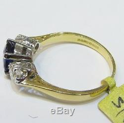 Certified Fine Blue Sapphire And Diamond 3 Stone 18ct Yellow & White Gold Ring