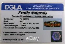 Certified Genuine Topaz- 14K Gold NOVEMBER BIRTHSTONE & Blue Sapphire Ring